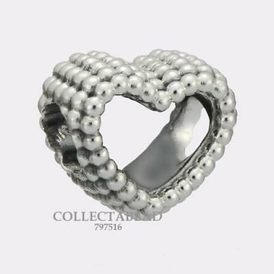 Authentic Pandora Sterling Silver Beaded Heart Bead 797516 ***NEW***