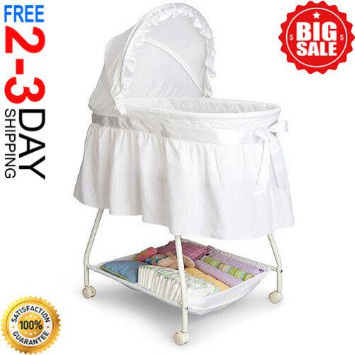 Baby Bassinet with Storage Infant Nursery Crib Basket Sleeper Bed Cradle White