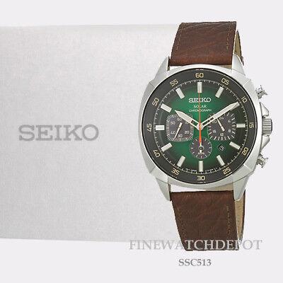 Authentic Seiko Men's Recraft Series Solar Chronograph  Leather Watch SSC513