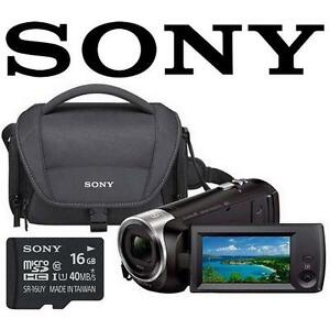 REFURB SONY WIFI HD CAMCORDER PACK HDR-CX440 Wi-Fi 60p Carrying Case 16GB SD Card BUNDLE 106634743