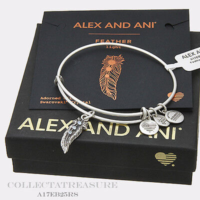 Authentic Alex And Ani Feather  Ii  Rafaelian Silver Expandable Charm Bangle