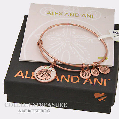 Authentic Alex and Ani Color Infusion,Sand Dollar (iv) Rose Gold Charm Bangle (Gold Charm Bangle)