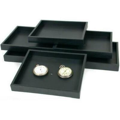 6 Jewelry Tray Black Travel Stackable Showcase Display