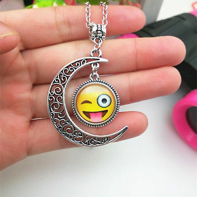 Emoji With Tongue Out (US SELLER SMILING EMOJI WITH TONGUE OUT MOON PENDANT SILVER CHAIN)