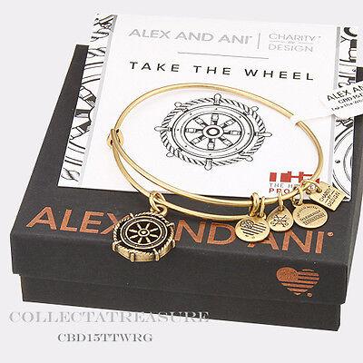 Authentic Alex And Ani Take The Wheel Rafaelian Gold Charm Bangle Cbd