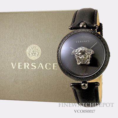 Authentic Women's Versace Black Leather Palazzo Empire Watch VCO050017