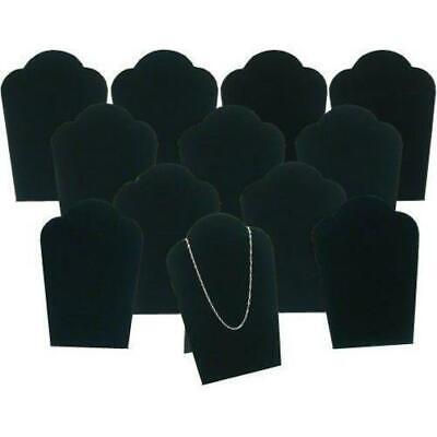 12 Black Velvet Necklace Pendant Jewelry Bust Display Easel 3 34 X 5 14