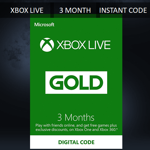 как выглядит Тайм-карта для видеоигры 3 MONTH XBOX LIVE GOLD MEMBERSHIP MICROSOFT XBOX 360 / XBOX ONE FAST DISPATCH фото