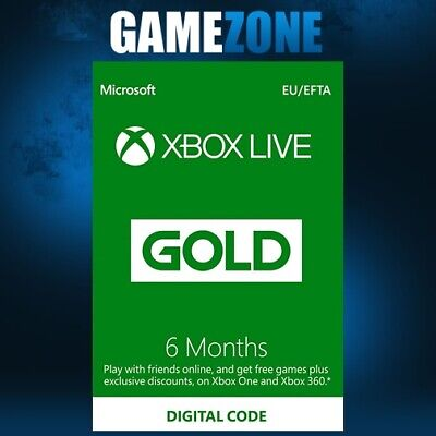 6 Month Xbox Live Gold Membership For Microsoft Xbox One / Xbox 360 Europe