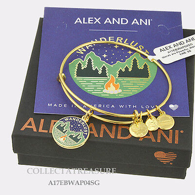 Authentic Alex And Ani Wanderlust Expandable Charm Yellow Gold Bangle