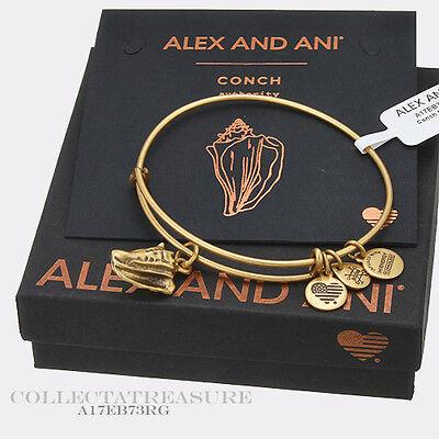 Authentic Alex And Ani Conch Shell  Ii  Rafaelian Gold Charm Bangle