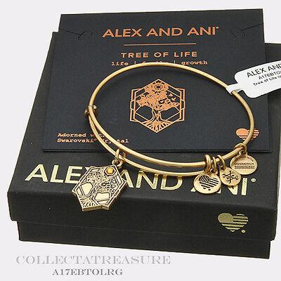 Authentic Alex And Ani Tree Of Life  Iv Rafaelian Gold Expandable Charm Bangle