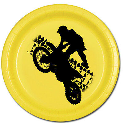 Extreme Sports Party Supplies MOTO CROSS MOTORCYCLE DESSERT CAKE PLATES - Motocross Party Supplies