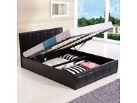 BRAND NEW LEATHER OTTOMAN GAS LIFT STORAGE BEDS - 4 DRAWER STORAGE BEDS - DOUBLE KINGSIZE FAST DEL