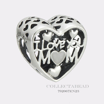 Authentic Pandora Sterling  Silver I Love You Mom Enamel Bead 792067EN23