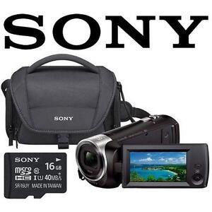 REFURB SONY WIFI HD CAMCORDER PACK - 106634743 - HDR-CX440 Wi-Fi 60p Carrying Case 16GB SD Card BUNDLE
