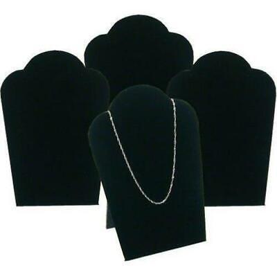 4 Black Velvet Necklace Pendant Jewelry Bust Display Easel 3 34 X 5 14