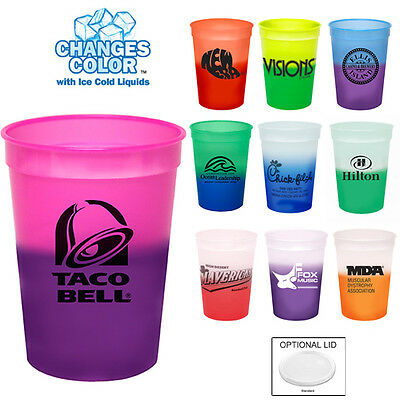 250 Promotional Color Changing Stadium Cups with Your Custom Logo,Text, Info.](Plastic Cups With Logo)