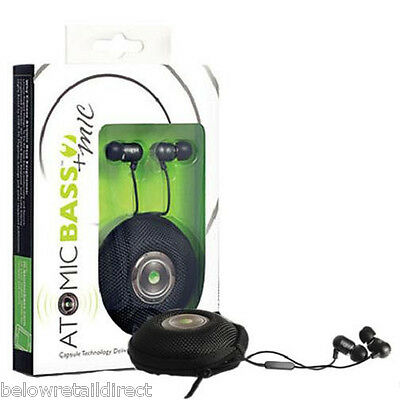 Used, NEW RADIUS ATOMIC BASS 2 + MIC STEREO EARBUDS EARPHONES BLACK+CASE MAT-411K NIB for sale  Shipping to India