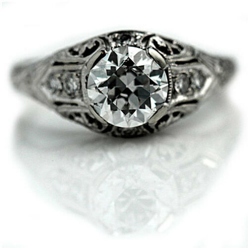 1.30Ct White Round Cut Diamond Vintage Engagement Ring Solid 925 Sterling Silver