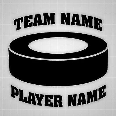 (Hockey Puck wall decal personalized sticker,custom team name Hockey puck sticker)