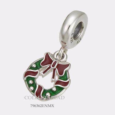 Authentic Pandora Silver Enamel Holiday Wreath Bead 796362ENMX *WINTER 2017