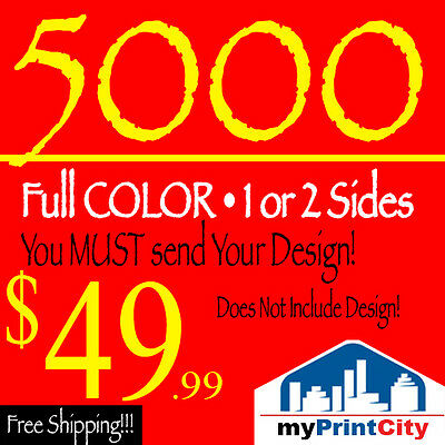 5000 Full Color Double Sided Business Cards - Send Your Design - Free Shipping