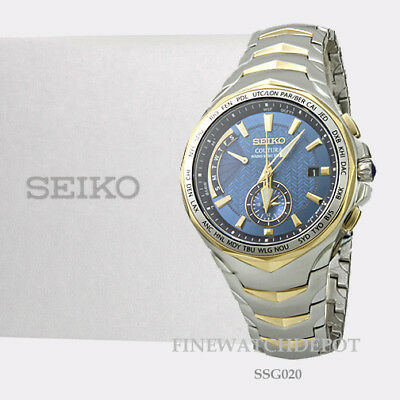 Authentic Seiko Men's Coutura Radio Sync Solar Stainless Steel Watch SSG020