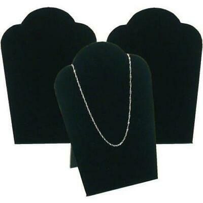 3 Black Velvet Necklace Pendant Jewelry Bust Display Easel 3 34 X 5 14