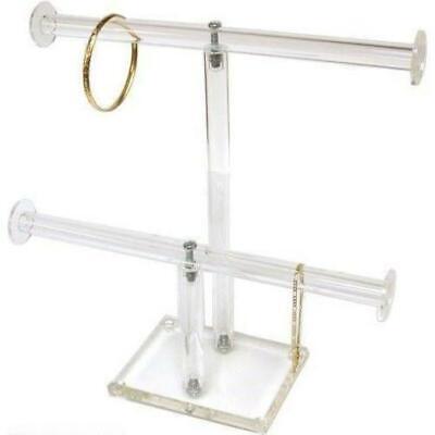 2 Tier Clear Acrylic Jewelry Stand T-bar Chain Bracelet Display