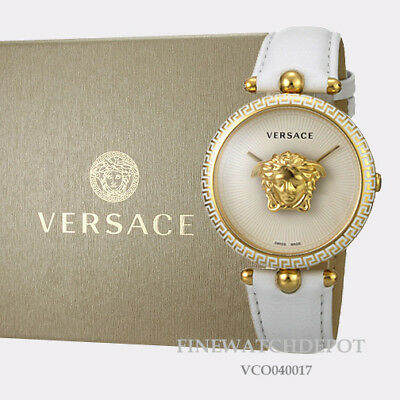 Authentic Women's Versace White Leather Palazzo Empire Watch VCO040017