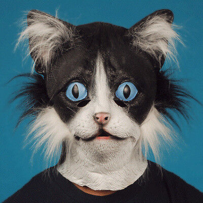 ADULT LATEX BLACK WHITE CAT MASK KITTEN KITTY ANIMAL COSTUME RUBBER WITH FUR ](White Mask Costume)