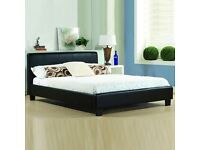 BRAND NEW DOUBLE LEATHER BED AND MATTRESS