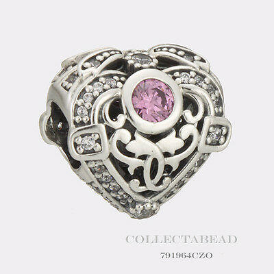 Authentic Pandora Sterling Silver Opulent Heart Orchid & Clear CZ Bead 791964CZO