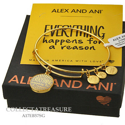 Authentic Alex And Ani  Everything Happens For A Reason  Shinygold Charm Bangle