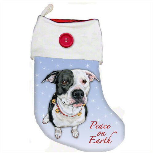Pit Bull White with Black Pit Bull Christmas Stocking