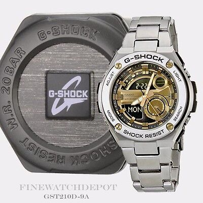 Authentic Casio G-Shock Men's Stainless Steel Layer Guard Watch GST210D-9A