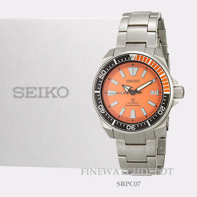 Authentic Seiko Men's Automatic Prospex Samurai Divers Orange Watch SRPC07