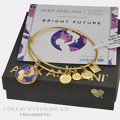 Authentic Alex And Ani Bright Future Yellow Gold Charm Bangle Cbd