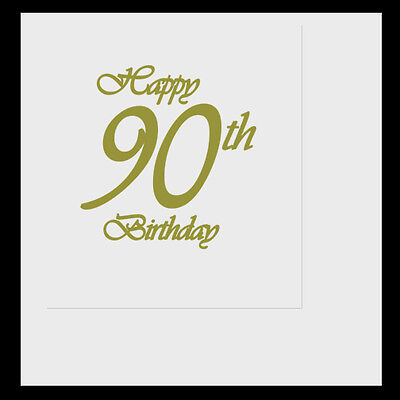 Happy 90th Birthday Party (Age 90) CLASSY GOLD LUNCHEON LUNCH DINNER NAPKINS