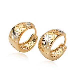 Two Tone Gold Filled 18k Wide Filigree FLOWER Hoop Huggie Earrings Lady 15mm