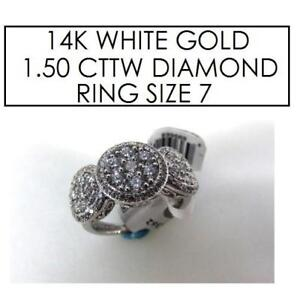 NEW* STAMPED 14K DIAMOND RING 7 896362 152471854 JEWELLERY JEWELRY 14K WHITE GOLD 1.50 CTTW