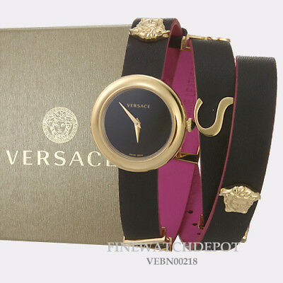Authentic Women's Versace Black Leather V-Flare Watch VEBN00218