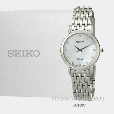 Authentic Seiko Solar Mother-of Pearl Dial 12 Diamonds Women's Watch SUP397