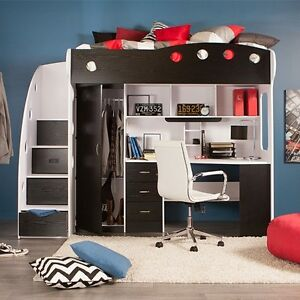 Nika Loft Bed - (White & Black)
