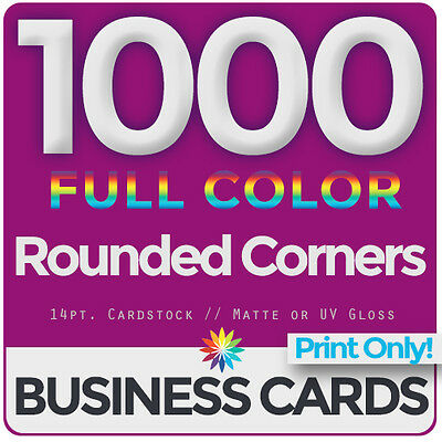 1000 Full Color Business Cards Both Sides, ROUNDED- PRINT ONLY & FREE SHIPPING