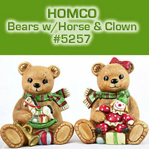 Vintage-HOMCO-CHRISTMAS-Boy-Girl-BEARS-Clown-Rocking-Horse-5251-EXCELLENT-Cond
