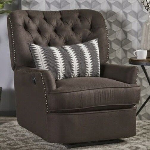 Brown Tufted POWER Arm Chair Recliner Armchair Chairs Accent