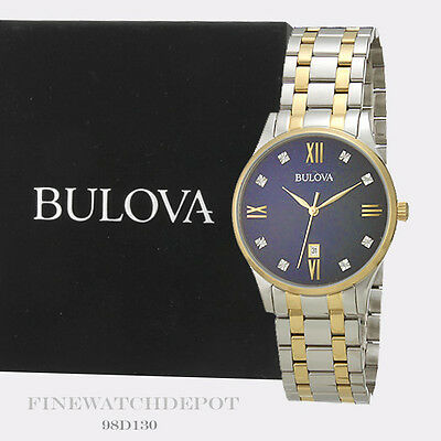 Authentic Bulova Men's Quartz Stainless Steel Dress 2-Tone Watch 98D130