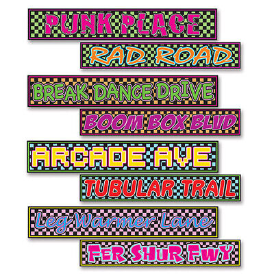 1980's/ 80's Decade Theme Party Supply STREET SIGN CUTOUTS - Arcade, Rad, & More](1980s Theme)
